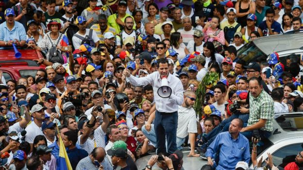 Juan Guaidó speaks during a rally in Caracas on March 9, 2019.