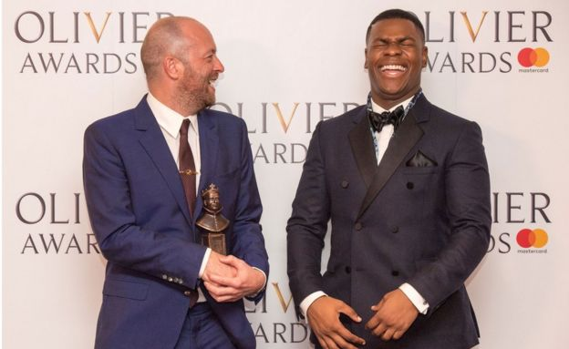 John Tiffany shares a joke with Star Wars actor John Boyega