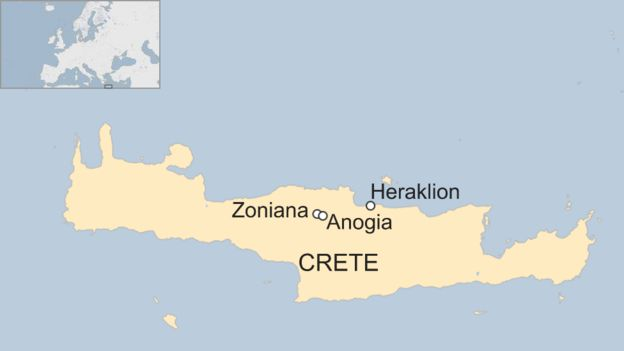 Map of the villages' location on Crete