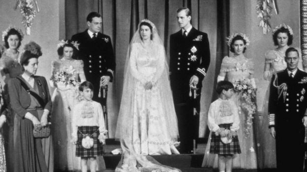 Group wedding photo for Princess Elizabeth and Prince Philip
