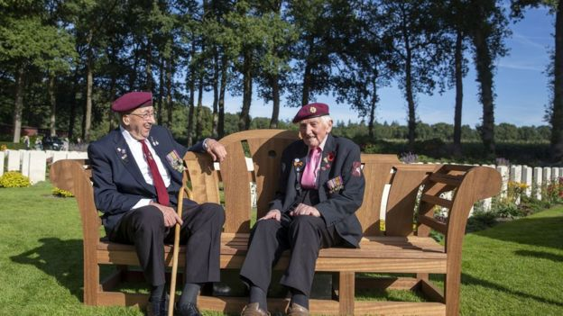 Veterans Geoff Roberts (left) and Ray Whitwell at the CWGC Oosterbeek War Cemetery near Arnhem, Netherlands on 20 September 2019