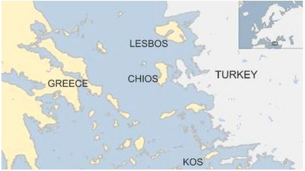 Migrant chaos on greek islands un refugee agency bbc news greece map gumiabroncs Gallery