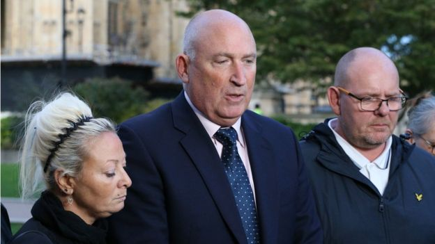 Radd Seiger (centre) said Harry Dunn's parents Charlotte Charles (left) and Tim Dunn (right)