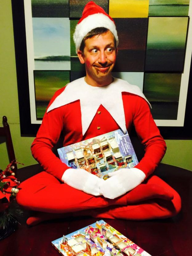 instead of a traditional card the wynberg family created a human elf on the shelf - When Was Christmas Created