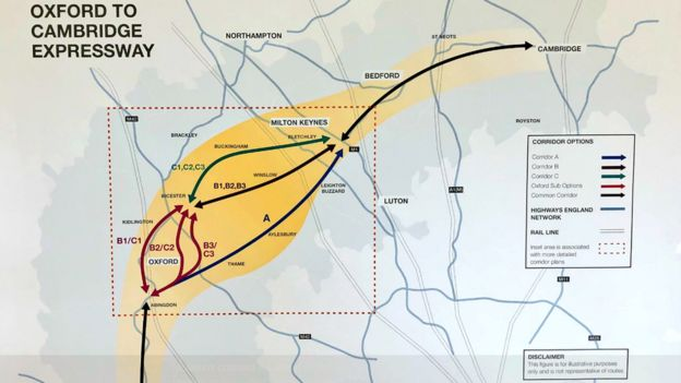 Oxford to Cambridge Expressway route options