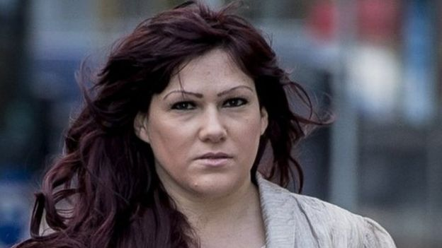 Joanne Mjadzelics, 39, from Doncaster, the ex-girlfriend of Lostprophets singer Ian Watkins, accused of possessing and distributing indecent images, arrives at Cardiff Crown Court