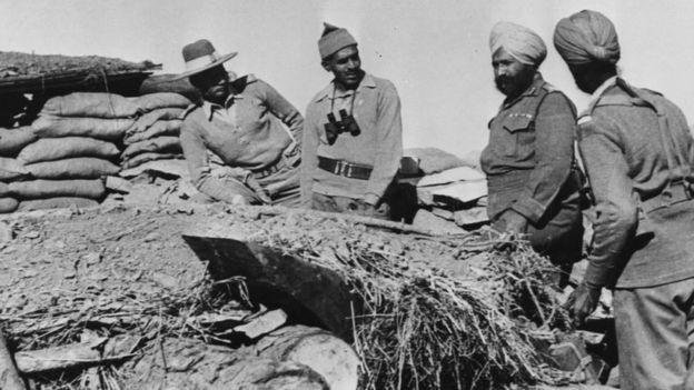 Fuerzas indias en uno de los puestos de defensa en 1962.
