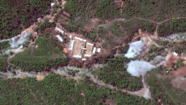 Vista aérea del centro de pruebas nucleares de Punggye-ri
