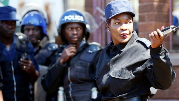 Police officers in Harare