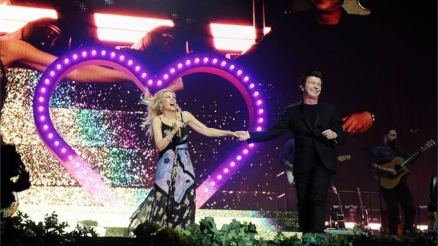 Kylie Minogue and Rick Astley perform at Radio 2 Live