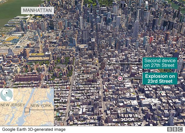 Location of New York bomb incidents shown on a 3D image of Manhattan
