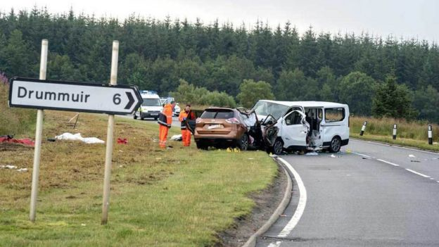 Boy, 4, and four adults die as minibus and 4x4 crash on A96 in Moray