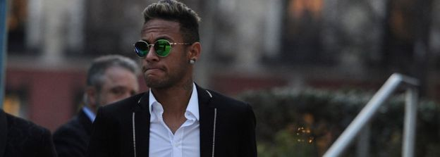 Neymar of FC Barcelona leaves the National Court on February 2, 2016 in Madrid, Spain.