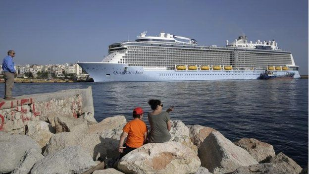 Quantum of the Seas cruise ship docked at the port of Piraeus near Athens