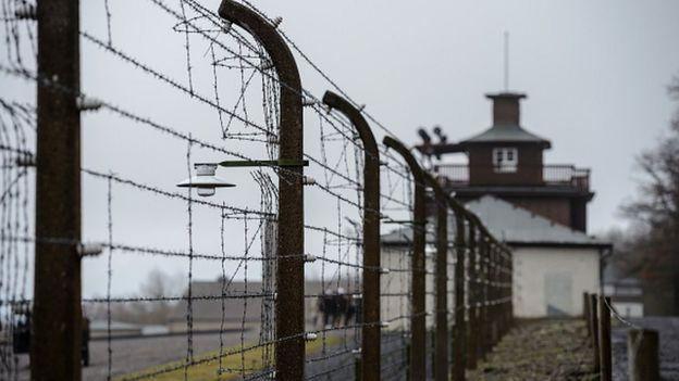 Fencing surrounding Buchenwald death camp