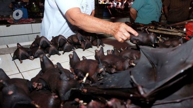 Mercado en Indonesia donde también se comercializan animales silvestres.