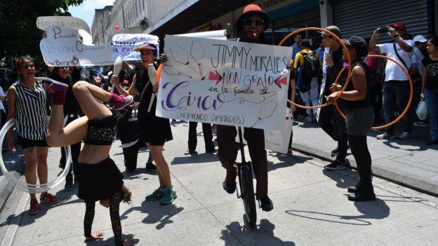 Manifestación contra Morales en Guatemala.