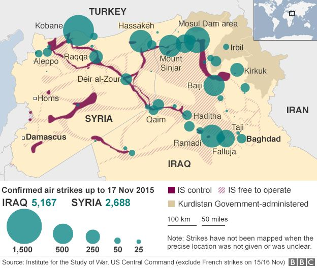 Islamic state where key countries stand bbc news map showing location of us led coalition strikes in syria 6 november 2015 gumiabroncs Gallery