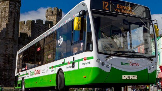 A bus on the TrawsCymru network