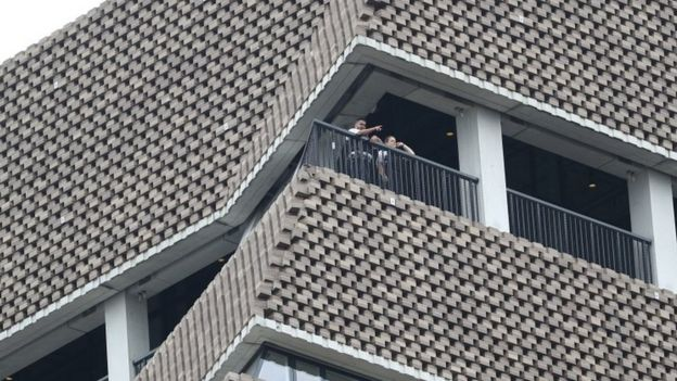 Police officers on viewing platform