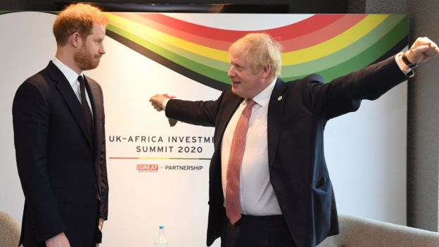 The Duke of Sussex and Boris Johnson at the UK-Africa Investment Summit