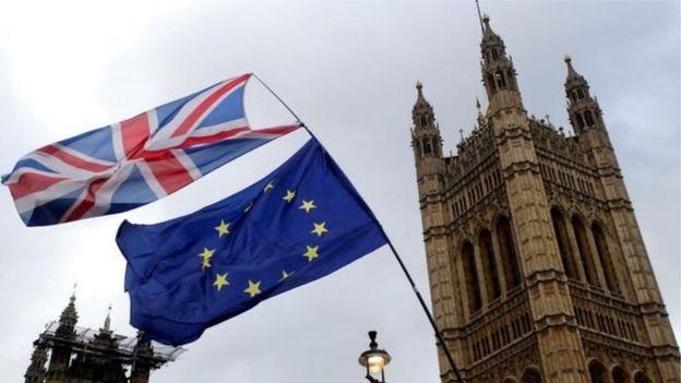 英国旗和欧盟旗