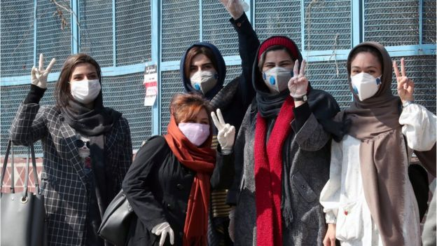Tehran girls in masks