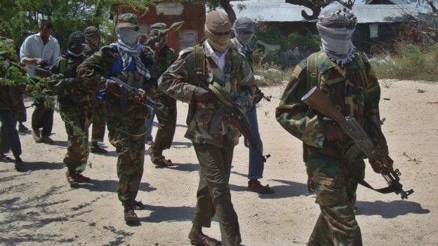 Foto de arquivo de lutadores do al-Shabab