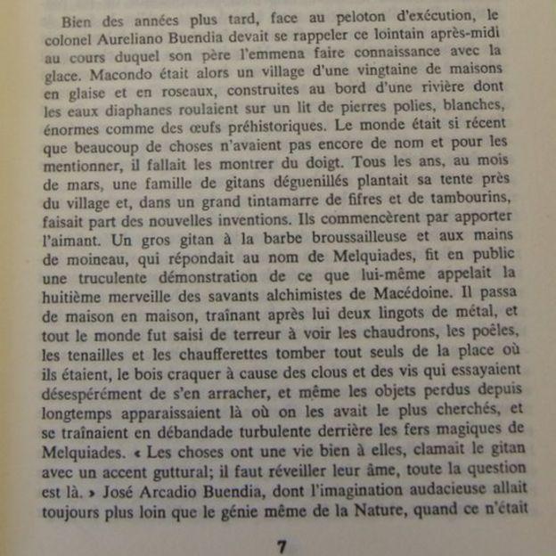 El inicio de la novela en la edición francesa.