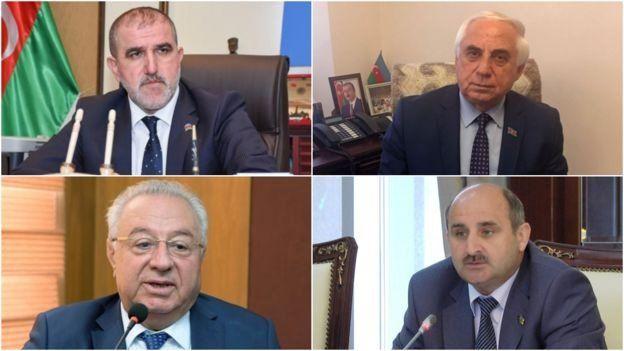 Четыре склееные фото кандидатов в депутаты