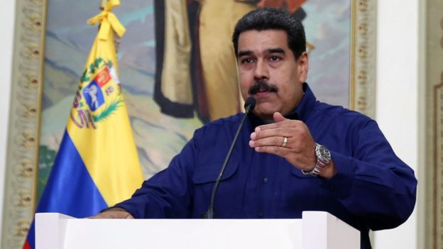 Venezuelan President Nicolás Maduro speaks during a televised address on Monday