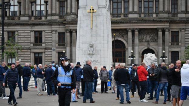 Активисты собрались и у Кенотафа в центре Глазго