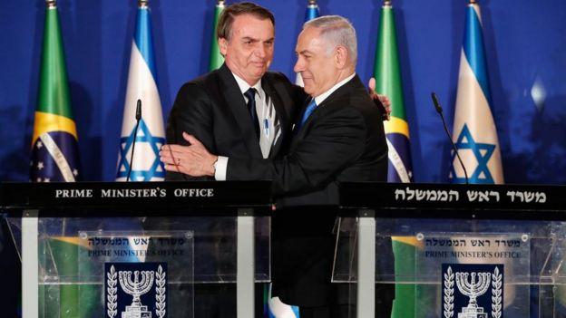 Jair Bolsonaro e Benjamin Netanyahu em encontro em Israel
