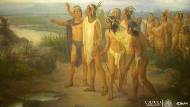 Pintura del mito del hallazgo de Tenochtitlan