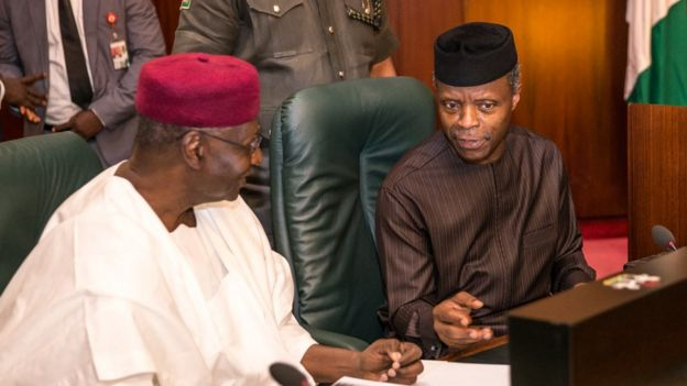Vice President Yemi Osinbajo with Chief of Staff to the President, Mallam Abba Kyari