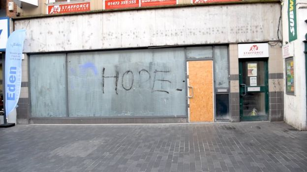 An empty shop in Grimsby