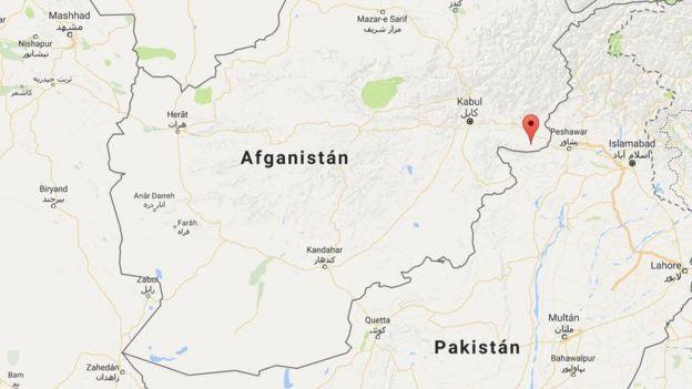 Mapa que muestra la ubicación de la provincia atacada en Afganistán, en el este del país y cerca de la frontera con Pakistán.