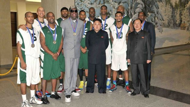 Rodman and other NBA players with Kim Jong-un