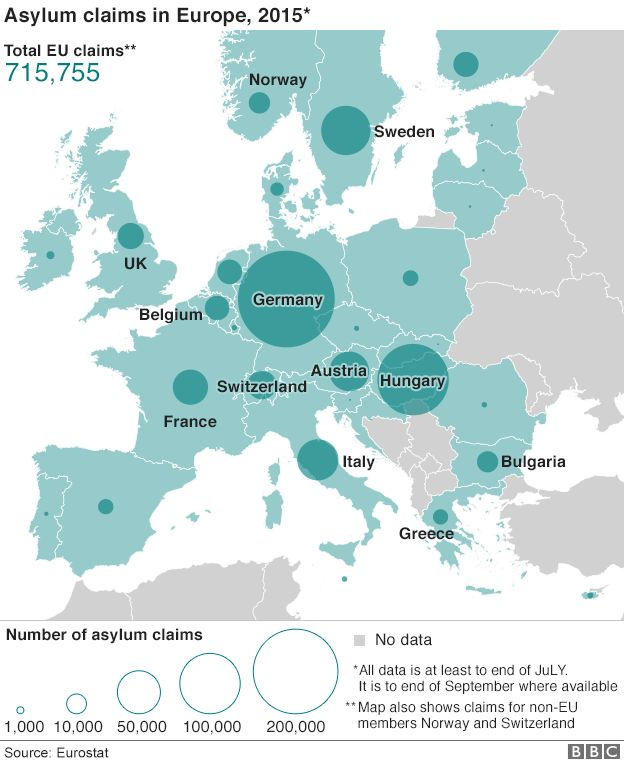 Map of asylum claims in 2015
