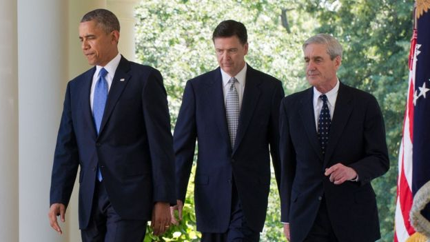 Barack Obama, James Comey y Robert Mueller.