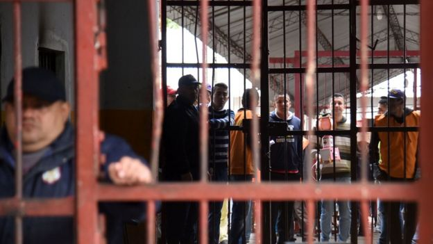 View of Tacumbu prison -where Brazilian drug trafficker Jarvis Chimenes Pavao was paying his sentence- in Asuncion on July 28, 2016