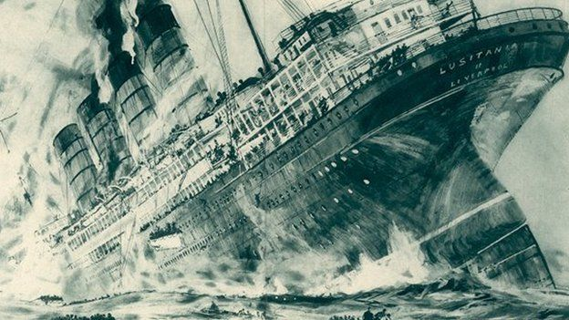 Illustration of the sinking of the Lusitania