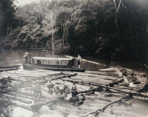 Transporte de madeira por balsas no rio Uruguai, na região Sul