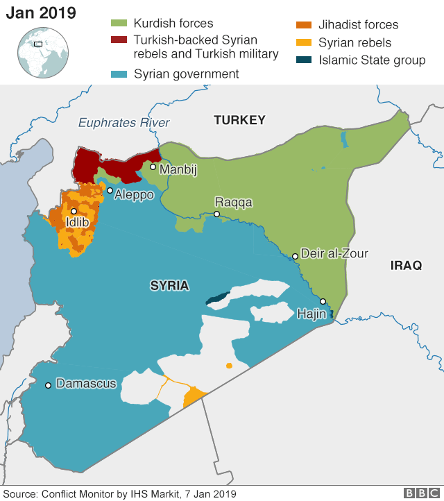 Map showing control of Syria (7 January 2019)