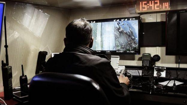 Sala de control remoto de drones de guerra.