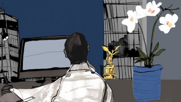 illustration of man working at desktop monitor and plant