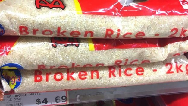 Bags of broken rice