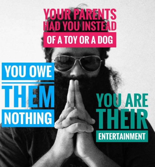 """""""Tus padres te tuvieron en vez de a un perro o un juguete""""; """"Eres su entretenimiento"""" y """"No les debes nada"""": los mensajes que transmite Raphael Samuel."""