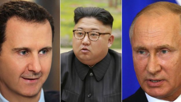 Assad (L) Kim (C) and Putin (R)