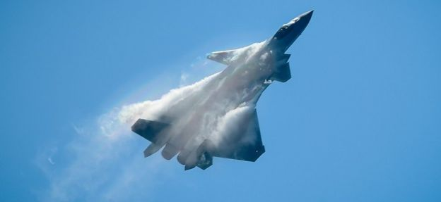 A Chinese J-20 stealth fighter performs at the Airshow China 2018 in Zhuhai